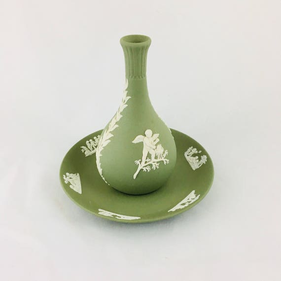 Vintage Wedgwood Jasperware Vase and Saucer Green and White