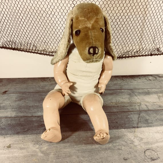 Woof! OOAK Assemblage Repurposed Steiff Treff Dog Head and Compo Doll Body