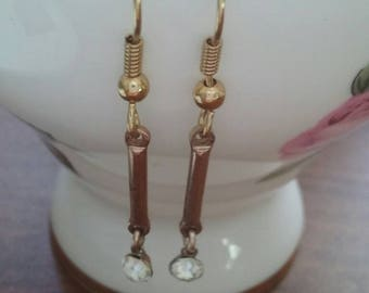 Vintage Gold Crystal Dangle Earrings
