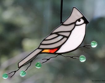 Tufted Titmouse Stained Glass Suncatcher