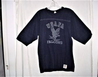 Vintage 70s USAFA Falcons TShirt M Air Force Navy Blue Collegiate Pacific
