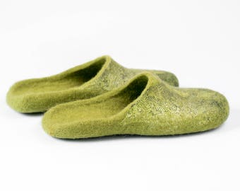 Green slide slippers from felted wool, Hygge home slippers for women, Slip-on woolen shoes in animal print, Bure Bure felted footwear