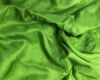 Apple Green - Hand Dyed Silk Twill Fabric - 1 Yard