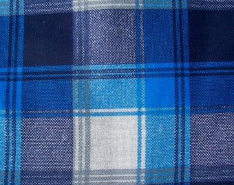 Vintage Blue Plaid Flannelette Cotton 3 yards whole or BTY