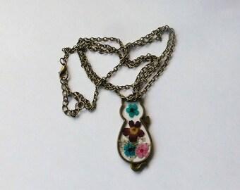 Halskette Katze bronze
