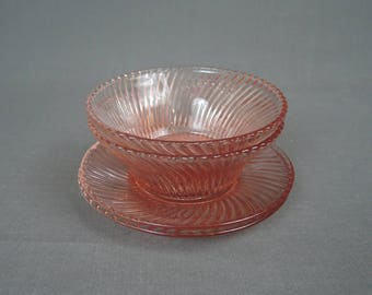 Vintage Pink Depression Glass Small Bowls & Saucers, Swirl Spiral Design,2 each