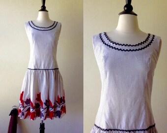 Dotty Rick Rack Drop Waist Dress | 1960s