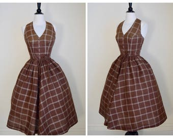 Vintage 1950s Dress - Chocolate Brown and White Striped Halter Dress