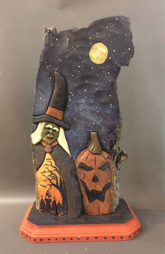 HAND CARVED original unique Halloween Witch scene in relief on base from 100 year old Cottonwood Bark