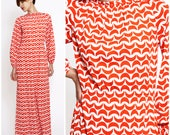 Bold Vintage 70's Red and White Geometric Half Moon Patterned Maxi Dress with Pockets by Etevez | Medium/Large