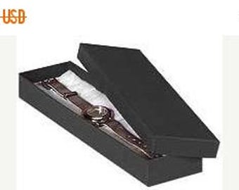 memorial day sale 100 Pack Matte Black Kraft Color Cotton Filled 8X2X1 Inch Size Retail Jewelry Gift Presentation Boxes
