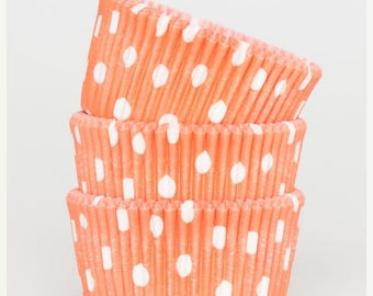 Summer Sale 50 Pc Pretty Orange Polka Dot Cupcake Liners 2X1.25 Inch Size Perfect for Parties