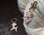 Enamel Pink Reindeer Knitting Stitch Marker / Progress Keeper