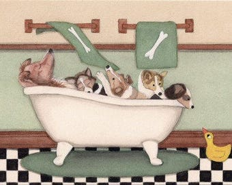 Rough collies fill tub at bath time / Lynch signed folk art print