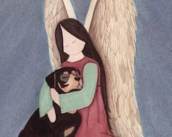 Rottweiler (rotti) with angel / Lynch signed folk art print