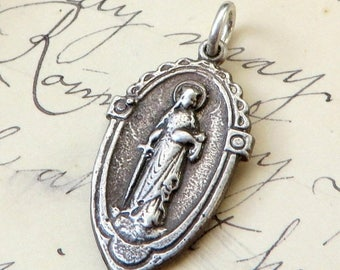 ON SALE St Dymphna Medal - Patron of mental Illness - Antique Reproduction