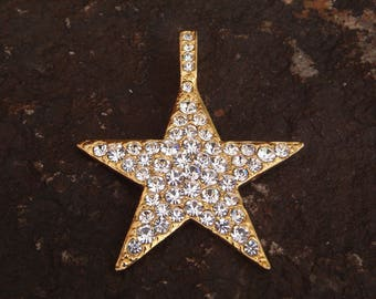 Gold Tone and Rhinestone Star Pendant, Star Pendant, Rhinestone Pendant, Gold Pendant, Fashion Pendant, Fashion Jewelry