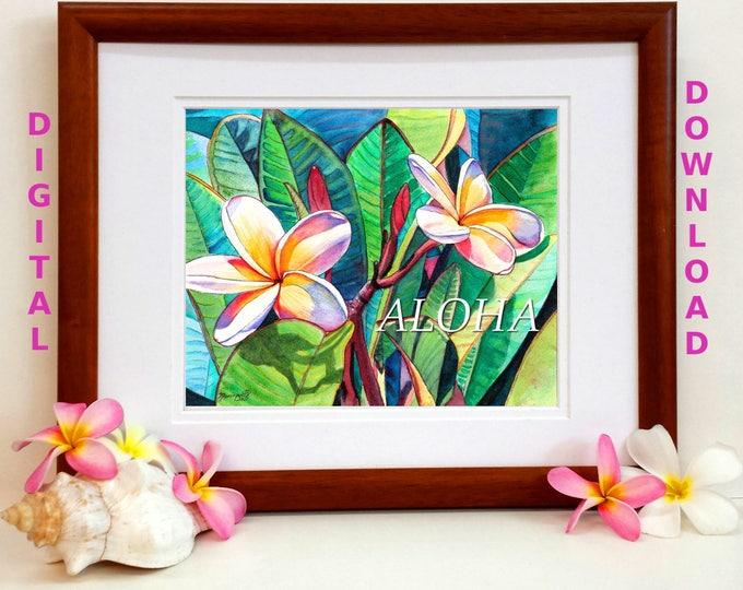 Aloha Plumeria Garden Digital Art Prints 8x10 and 5x7 printable wall art home decor Kauai Hawaii Maui Oahu downloadable print jpg