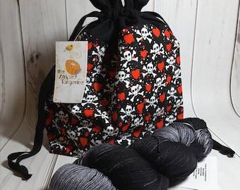 Skulls and Hearts Drawstring Project Bag- Medium- Knitting- Crochet- Needlearts- Crafting- Artist