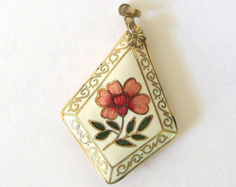 Vintage Cloisonne Pendant, Ivory Diamond Shaped with Pink Flower, Double Sided Pendant