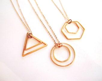 Geometric Necklace, Rose Gold, Pendant Necklace, Triangle, Circle, Hexagon, Art deco, Bohemian Style, Geometric Jewelry, Gardendiva