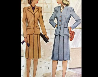 Vintage 40s Wasp Waist Pleated Skirt Fitted Suit WOUNDED BIRD  Pattern 5544 B34