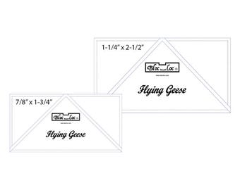 """Flying Geese Ruler Set 5 includes: 7/8"""" x 1-3/4"""" and 1-1/14"""" x 2-1/2"""""""