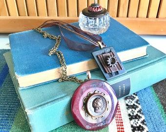 Vintage Button Jewelry Gift Set - Regina Maroon and Brown Vintage Button Necklaces - Salt Cellar Ring