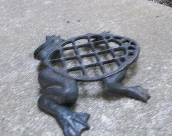 Vintage Cast Iron Frog Trivet Cast Iron Flower Frog French Country Garden Decor