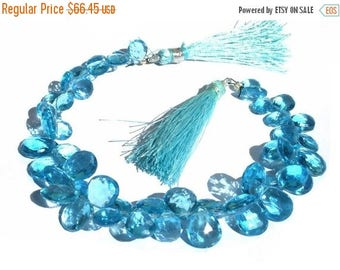 50% Off Sale 1/2 Strand 4 Inches of AAA Swiss Blue Quartz Faceted Pear Briolettes Size - 8x7 - 12x 10mm approx