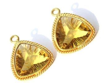 50% Off Sale 1 Pc 21x17mm Gold Plated Bezel Set AAA Lemon Quartz Concave Cut Trillion Charm, Single Loop Gemstone Pendant GP01