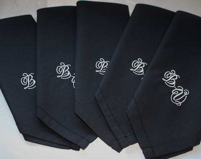 Set of Five Black Monogrammed Men's Handkerchief, Embroidered Hankerchief, Groom Handkerchief, Father of the Bride, Wedding Handkerchief