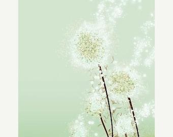 50% Off Summer Sale - Dandelion Print, Dandelion Art, Dandelion Flower Art, Modern Dandelion Art - Perennial Moment (green) - 8x10 Print - G