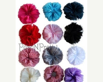 20% OFF EXP 06/30 Five 2.5 inches Frayed Ballerina Flowers - CHOOSE Colors