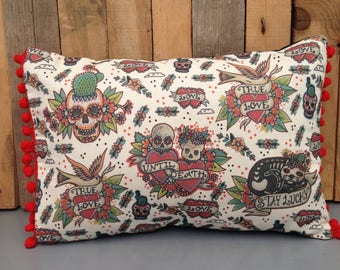 True Love, Until Death, Cushion. Tattoo Flash Throw Pillow with pom pom trim!