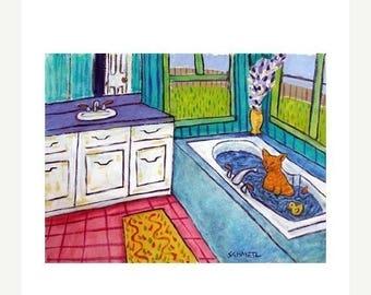 20 % off storewide Orange Tabby Cat Taking a Bath Animal Art Print