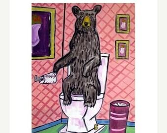 20 % off storewide Black Bear in the Bathroom Art Print