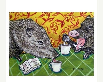20 % off storewide Two Javelina at the Coffee Shop Art Print