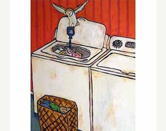 20% off storewide Owl Doing the laundry Art Print