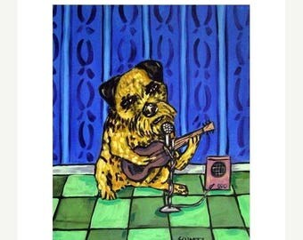 20% off storewide Border Terrier Playing the Guitar Dog Art Print