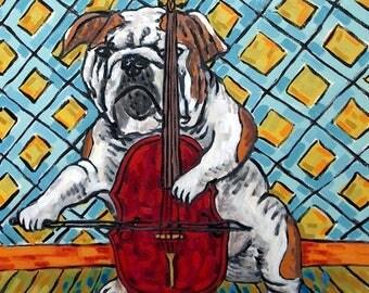 20% off Bulldog playing cello signed dog art print modernmusic room