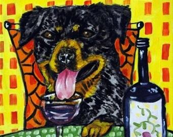 20% off Rottweiler at the Wine Bar Dog Art TIle Coaster gift JSCHMETZ american MODERN folk art pop art abstract