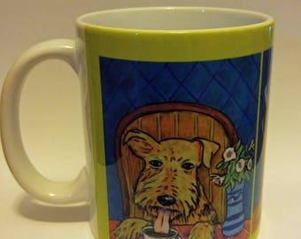 20% off airedale terrier at the coffee shop cafe dog art mug cup 11 oz dog art mug cup 11 oz gift
