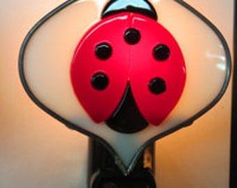 Ladybug x3 Night lights - Ladybugs on Leaf Night light - Stained Glass Night Light - Ladybug Nightlight