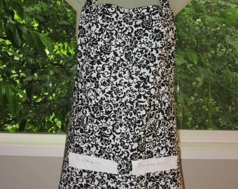 Womens Aprons - Aprons for Adults - Black and White Floral Vines