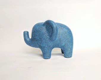 Elephant Coin bank blue dotted elephant ceramic bank piggy bank blue on black ceramic elephant