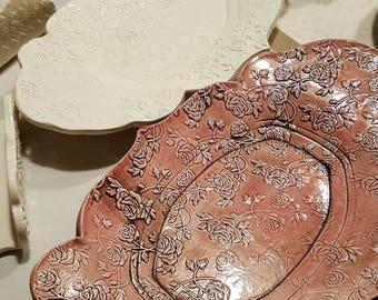 White Handmade Ceramic Rose Covered Vanity Tray, Key Holder, Change Dish, Candle Tray, Soap Dish
