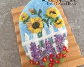 Felted Goat Milk Soap - Lavender Scented with a White Picket Fence Garden Theme