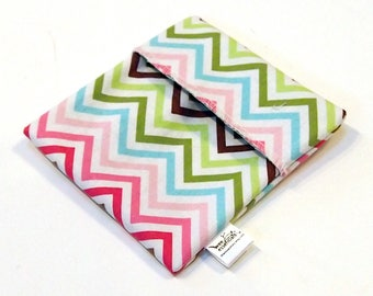 Cloth Menstrual Pad Wrapper - waterproof PUL lining and quilter's cotton outer - 4.5 x 4.5 inches - Pastel Chevron