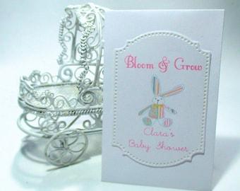 Baby Shower  Favors - Wildflower Seeds - Stuffed Bunny - Bloom & Grow - Set of 20